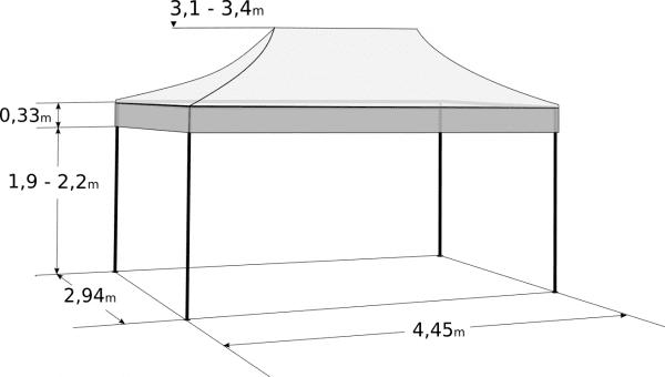 Faltzelt 3x4,5 m - Profi-Hexagonkonstruktion aus Aluminium: Abmessungen und Parameter