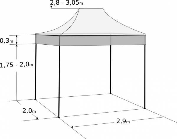 Faltzelt 2x3 m - aus Stahl: Abmessungen und Parameter
