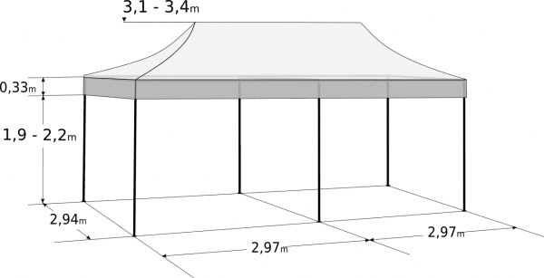 Faltzelt 3x6 m - Aluminium-Hexagonkonstruktion: Abmessungen und Parameter