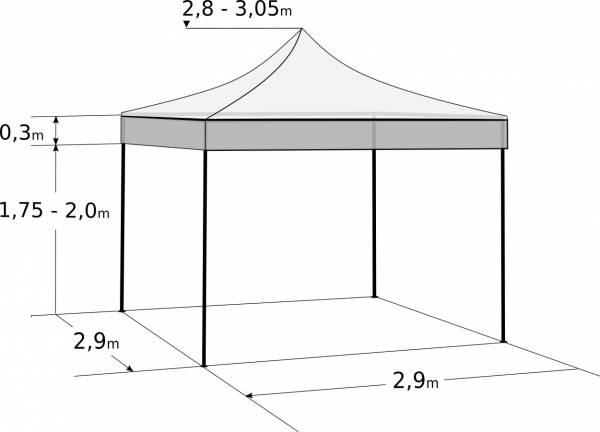 Faltzelt 3x3 m - aus Aluminium: Abmessungen und Parameter