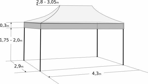Faltzelt 3x4,5 m - aus Aluminium: Abmessungen und Parameter