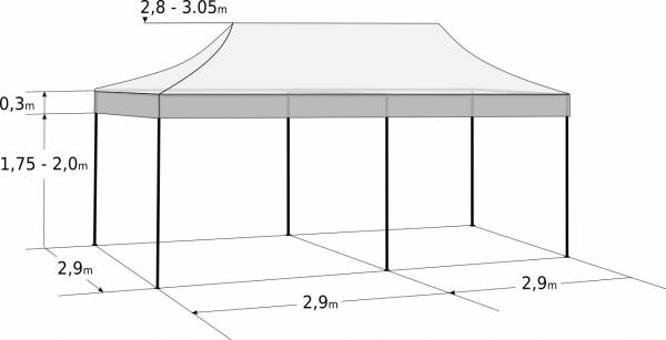 Faltzelt 3x6 m - aus Aluminium: Abmessungen und Parameter
