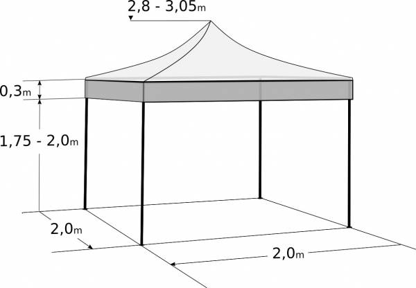 Faltzelt 2x2 m - aus Stahl: Abmessungen und Parameter