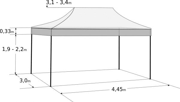 Faltzelt 3x4,5m - Aluminium-Hexagonkonstruktion: Abmessungen und Parameter