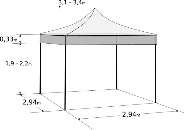 Faltzelt 3x3m - Aluminium-Hexagonkonstruktion: Abmessungen und Parameter